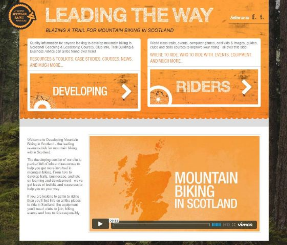 New Developing Mountain Biking in Scotland website.